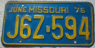 1976 June Missouri J6Z-594 License Plate DMV Clear