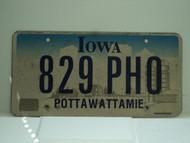 IOWA License Plate 829 PHO