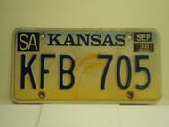 1998 KANSAS Wheat License Plate KFB 705