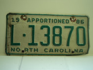 1986 NORTH CAROLINA Apportioned Truck License Plate L 13870