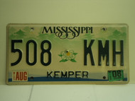 2008 MISSISSIPPI License Plate 508 KMH