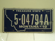 2010 MONTANA Treasure State License Plate 5 04794A