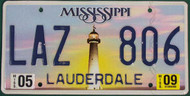 2009 May Mississippi LAZ 806 License Plate