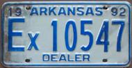 1992 Arkansas License Plate Ex 10547 DEALER