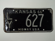 1966 KANSAS Midway USA License Plate LY 627