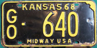1968 Gove Co Kansas GO-640 Midway License Plate