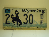 1998 WYOMING Bucking Bronco License Plate 2 30 DF