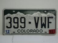 2011 COLORADO License Plate 399 VWF