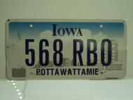 IOWA License Plate 568 RBO