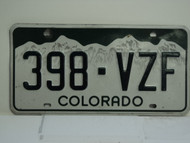 COLORADO License Plate 398 VZF
