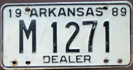 1989 Arkansas M 1271 DEALER License Plate