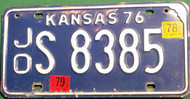 1978-79 Johnson Kansas License Plate JO S 8385