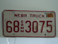 2002 NEBRASKA Commercial Truck License Plate 68 3075