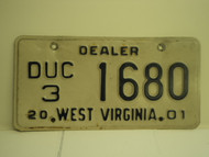 2001 WEST VIRGINIA Dealer Used Car License Plate DUC 3 1680