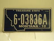 2010 MONTANA Treasure State License Plate 6 03836A
