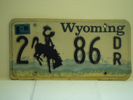 1998 WYOMING Bucking Bronco License Plate 2 86 DR