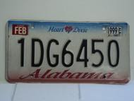 1999 ALABAMA Heart of Dixie License Plate 1DG6450