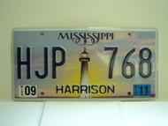 2011 MISSISSIPPI Lighthouse License Plate HJP 768