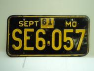 1961 Missouri License Plate SE6 057 DMV CLEAR