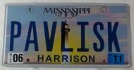 2011 June Mississippi Vanity License Plate PAVLISK