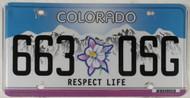 Colorado Respect Life 663 OSG License Plate