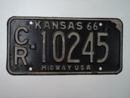 1966 KANSAS Midway USA License Plate CR 10245