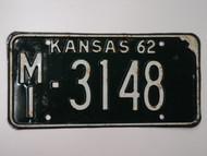 1962 KANSAS License Plate MI 3148