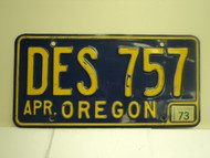 1973 OREGON License Plate DES 757