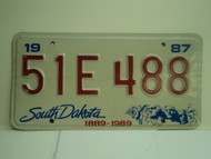 1987 SOUTH DAKOTA Centennial 1889 1989 License Plate 51E 488