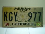 2000 MISSISSIPPI Magnolia License Plate KGY 977