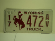 1988 WYOMING Truck License Plate 17 472 AV