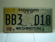 2003 MISSISSIPPI Magnolia License Plate BB3 018