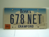 2006 IOWA License Plate 678 NET