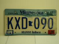 2006 MINNESOTA Explore 10,000 Lakes License Plate KXD 090 1