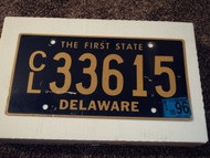1996 DELAWARE The First State License Plate CL 33615