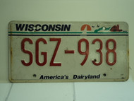 WISCONSIN America's Dairyland License Plate SGZ 938