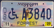 2009 Nov Mississippi DB A3840 License Plate