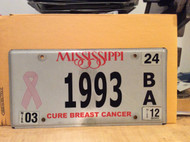 1993 Mississippi Cure Breast Cancer License Plate 1993 BA