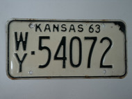 1963 KANSAS License Plate WY 54072