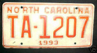 1993 North Carolina TA-1207 TAXI License Plate