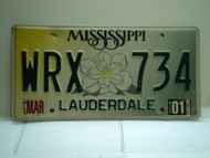 2001 MISSISSIPPI Magnolia License Plate WRX 734