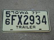 1977 IOWA Trailer License Plate 56 FX2934