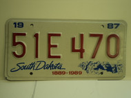 1987 SOUTH DAKOTA Centennial 1889 1989 License Plate 51E 470