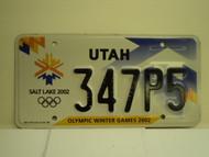 UTAH Salt Lake City Winter Olympics 2002 License Plate 347P5