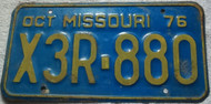 1976 Oct Missouri X3R-880 License Plate Clear