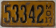 1917 Missouri License Plate 53342 DMV Clear