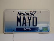 2012 KENTUCKY VANITY License Plate MAYO