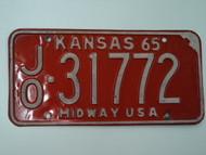 1965 KANSAS Midway USA License Plate JO 31772