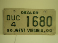 2000 WEST VIRGINIA Dealer Used Car License Plate DUC 4 1680