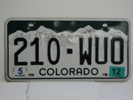 2012 COLORADO License Plate 210 WUO
